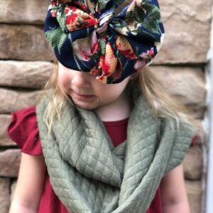 Navy Floral Messy Bow Headwrap