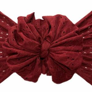 Burgundy Eyelet Messy Bow Headwrap