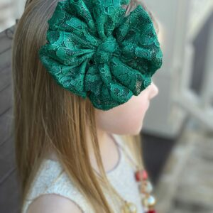 Emerald Lace Messy Bow Headwrap