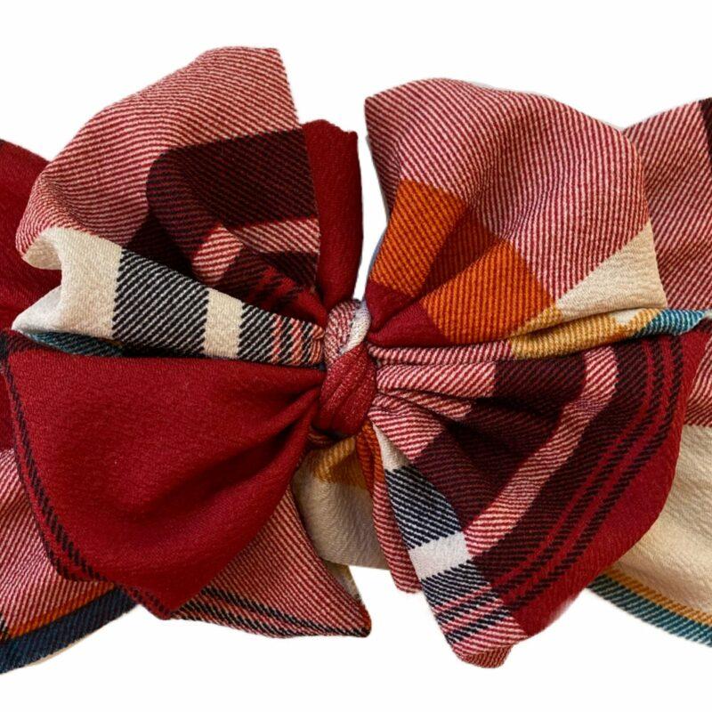 Autumn Plaid Messy Bow Headwrap