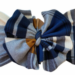 Navy Plaid Messy Bow Headwrap