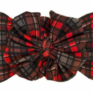 Christmas Plaid Messy Bow Headwrap