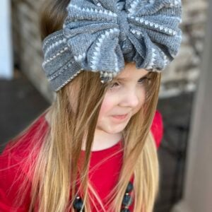 Gray Sweater Messy Bow Headwrap